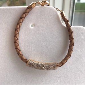 Rose Gold Swarovski Leather Bracelet